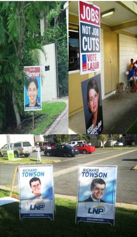 Cukup poster, atribut kampanyue di Brisbane (foto Gede Suparwata dan Dasar Bali)