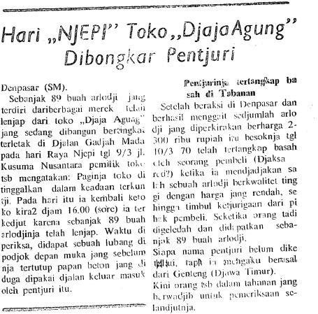 Berita pencurian saat Nyepi 1970, Suluh Marhaen 11 Maret.