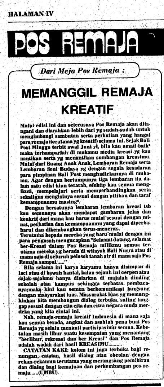 Pengantar redaksi Umbu pertama di Bali Post 8 Juli 1979 (file Darma Putra)