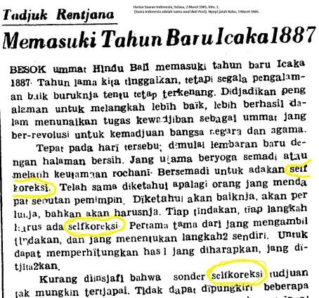 Tajuk Rencana Suara Indonesia (nama lama Bali Post) menyambut Nyepi 1965.
