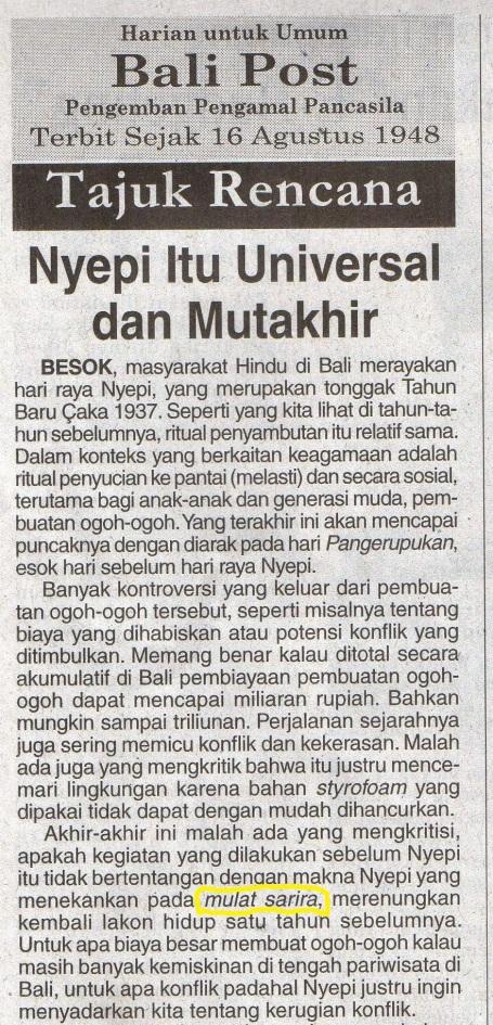 Tajuk Rencana Bali Post menyambut Nyepi 21 Maret 2015.