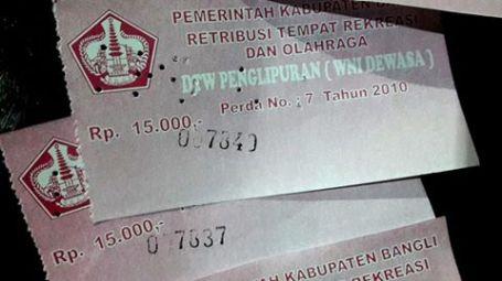 Tiket masuk Rp 15,000 berdasarkan peraturan tahun 2010.