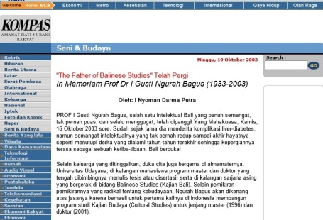 Kliping Kompas on-line, Minggu 19 Oktober 2003.
