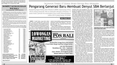 Kliping koran Pos Bali. Senin, 11 Januari 2016