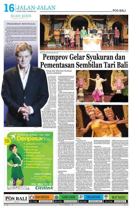 Pos Bali, Senin, 4 Januari 2016, hlm. 16.