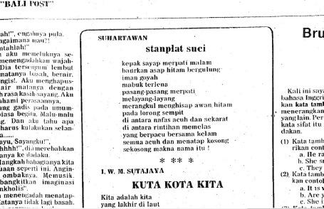 Kliping sajak 'Stanplat Suci' dari Bali Post, 20 Januari 1978, hlm.3 (File: Darma Putra)