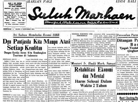 Berita peresmian Hotel Bali Beach, di halaman depan, koran Suluh Marhaen, Kamis, 3 November 1966.